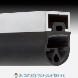 PERFIL ALUMINIO Y GOMA PARAGOLPES PARA PUERTAS BASCULANTES, DE CONTRAPESAS Y ENROLLABLES (METRO LINEAL)