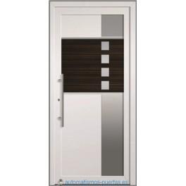 PUERTA DE ENTRADA CON PANELES CONTEMPORANEOS CON APLICAIONES DE ACERO INOXIDABLE   BLANCA ST-5204 DE 2100X960 MM.